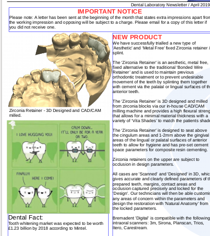 April 2019 -  Dental Laboratory Newsletter