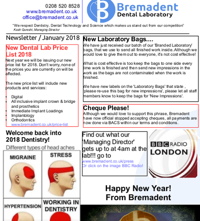 Dental Laboratory Newsletter 2018